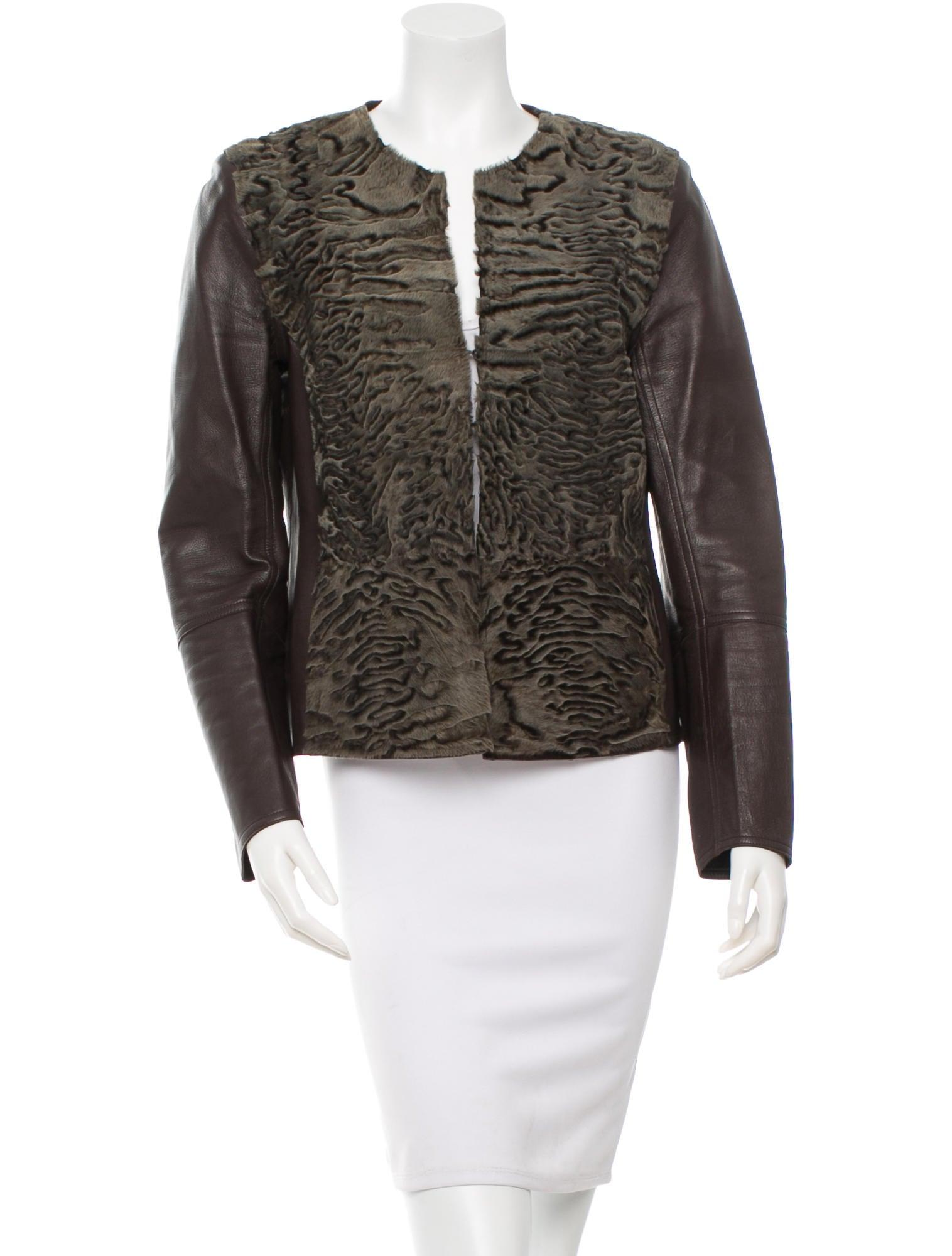 Leather jacket fur trim