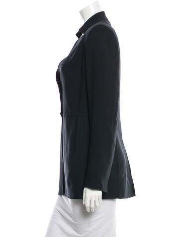 Mandarin Collar Wool Blazer