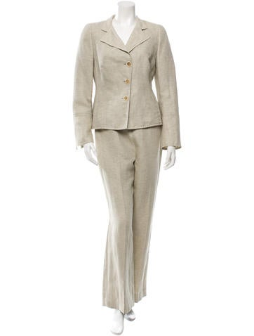 Akris Wide-Leg Wool & Linen-Blend Pantsuit None