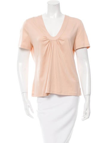 Akris Gathered-Accented Short Sleeve Top w/ Tags None