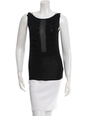 Akris Sleeveless Pleat-Accented Top w/ Tags None