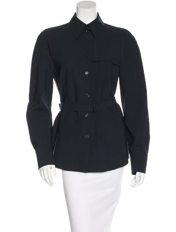 Akris Wool Belted Button-Up None