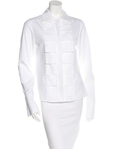 Akris Pleat-Accented Button-Up Top None