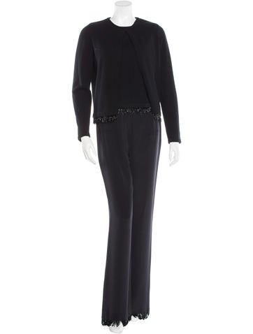 Akris Cashmere & Silk Embellished Pant Set None