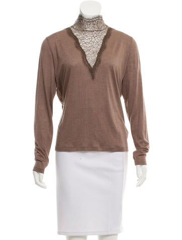 Akris Lace-Accented Cashmere Top None