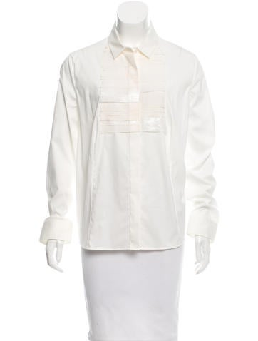 Akris Silk-Accented Button-Up Top w/ Tags None