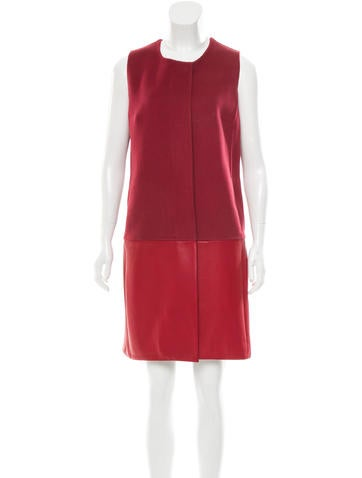 Akris Leather-Accented Cashmere Dress None