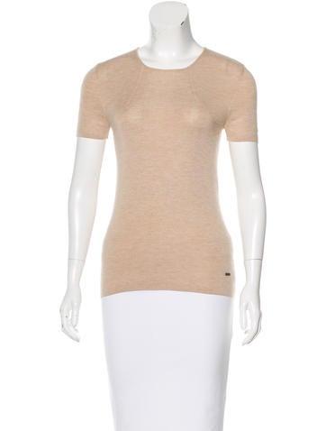 Akris Cashmere Short Sleeve Top None