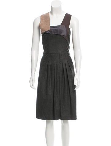 Akris Cashmere Pleated Dress None