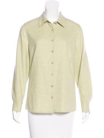 Akris Cashmere Button-Up Top None