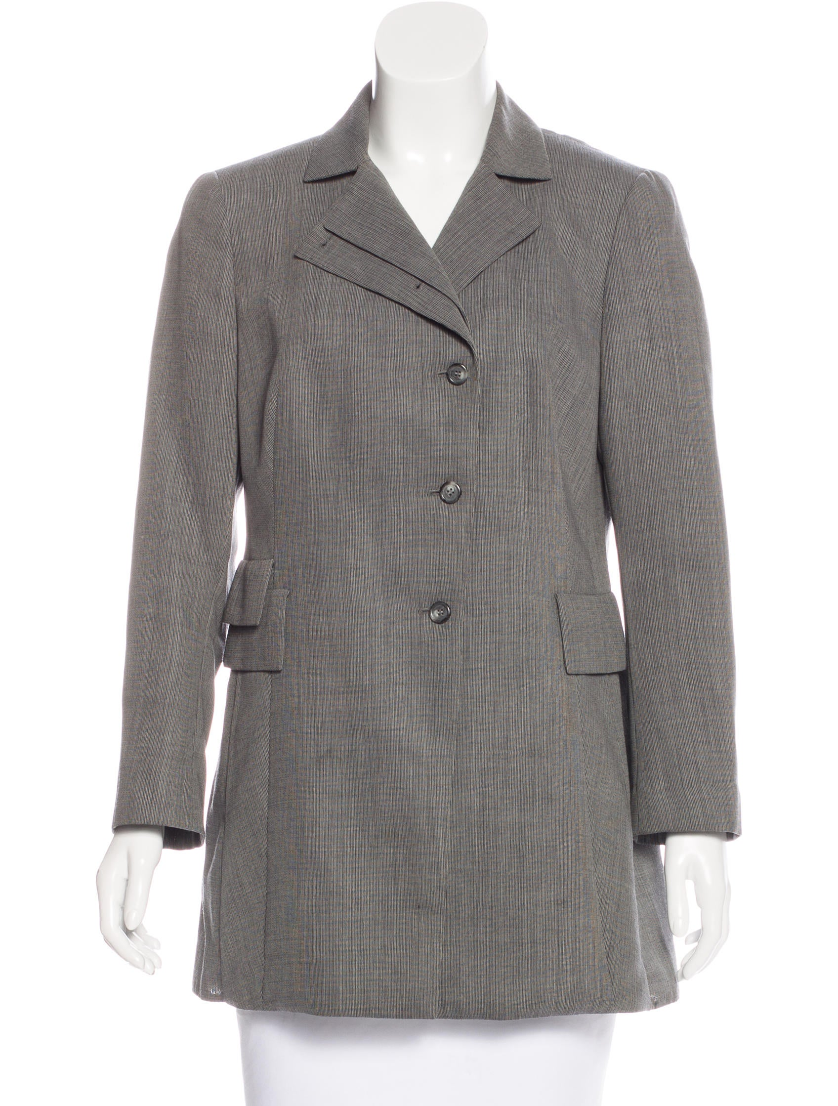 Long wool blend blazer with notch collar. Button front. Long sleeves with buttons at vent. Front pockets. Front and back shaping seams. Back vent. Front hem. I am the Disclaimer. I am one of 15 disclaimers. I am 2 of 15 disclaimers. Customer Service EMAIL US.
