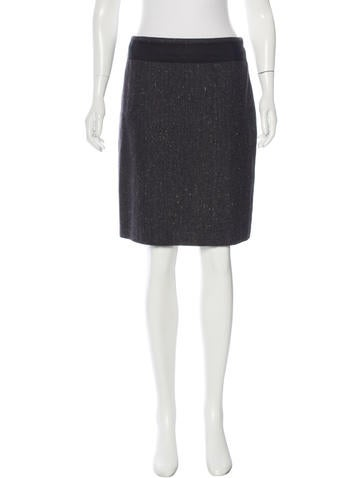 Akris Cashmere Herringbone Skirt None