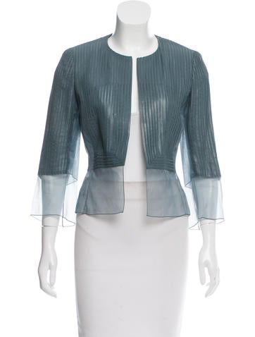 Akris Leather-Paneled Silk Jacket w/ Tags None