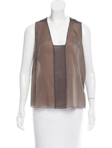 Akris Sleeveless Silk Top None