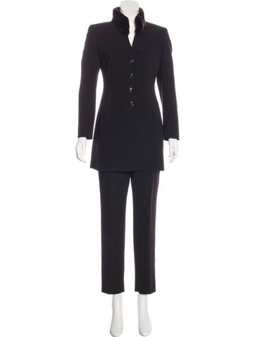 Akris Fur-Accented Wool Pantsuit None