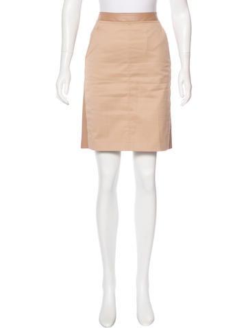 Akris Twill-Paneled Leather Skirt None