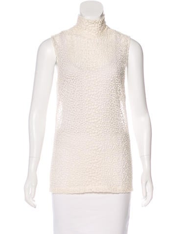 Akris Embroidered Wool-Blend Top w/ Tags None