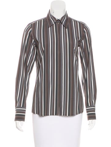 Akris Striped Button-Up Top None