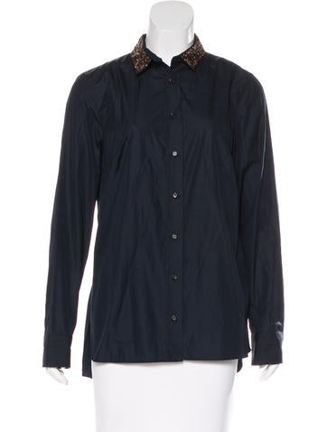 Akris Wool Button-Up Top None