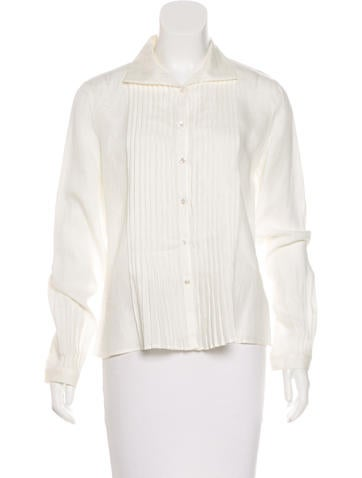 Akris Pleated Button-Up Top None