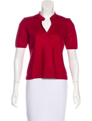 Akris Silk Leather-Accented Top None
