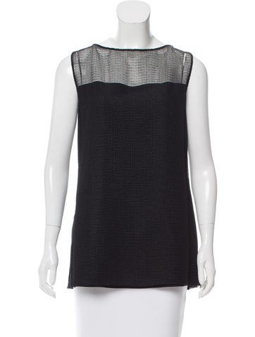 Akris Sleeveless Mesh-Accented Top w/ Tags None