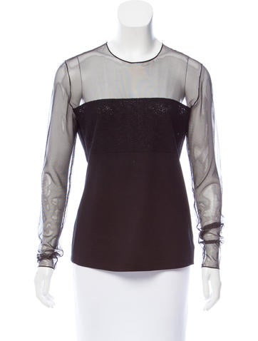 Akris Mesh-Accented Top None