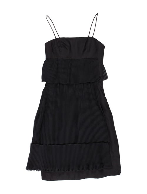 Akris Asymmetrical Pleated Dress Black