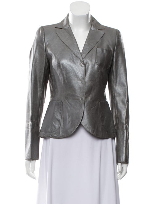 Akris Metallic Leather Blazer Grey