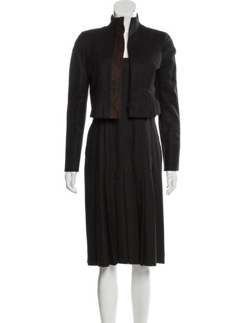 Akris Wool Suede-Trimmed Dress Set wool