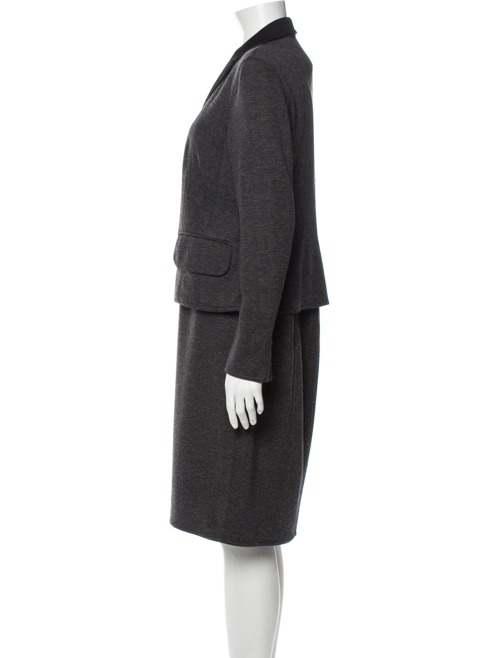Akris Tweed Pattern Dress Set Grey - image 2