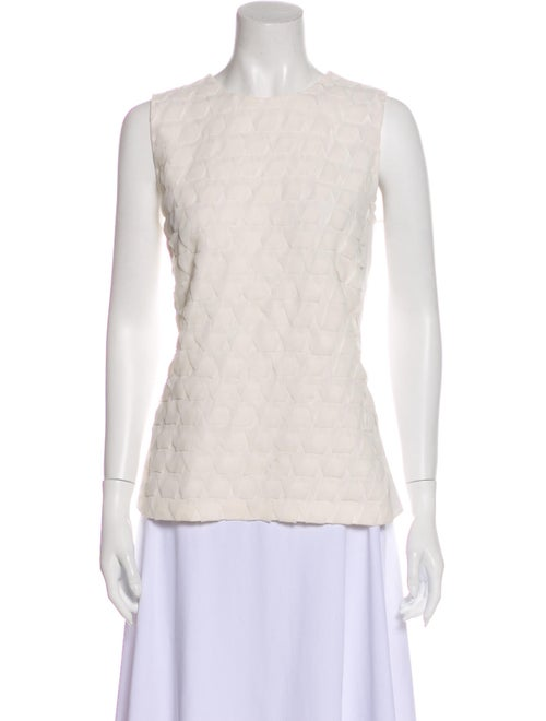 Akris Silk Lace Pattern Top White