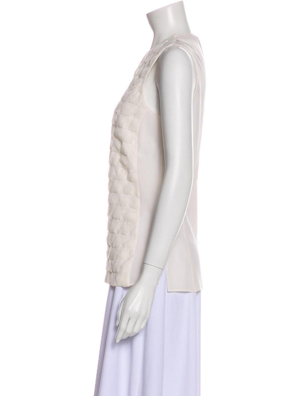 Akris Silk Lace Pattern Top White - image 2