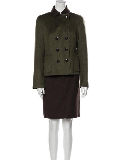 Akris Cashmere Skirt Suit Green