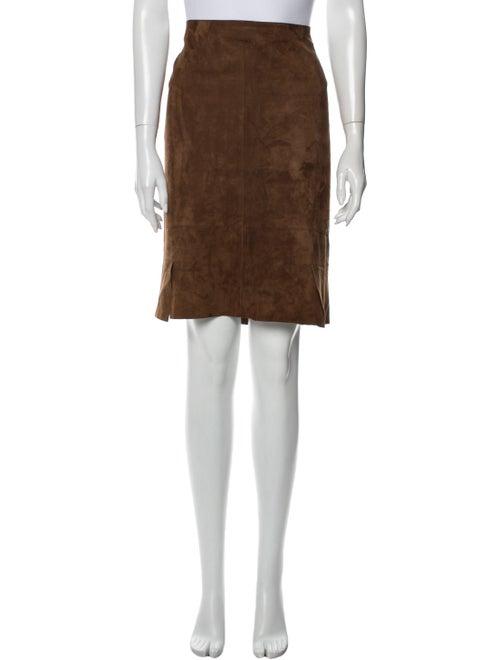 Akris Suede Knee-Length Skirt Brown