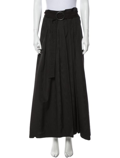 Akris Pleated Accents Long Skirt Brown