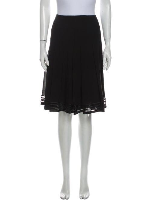 Akris Pleated Accents Knee-Length Skirt Black
