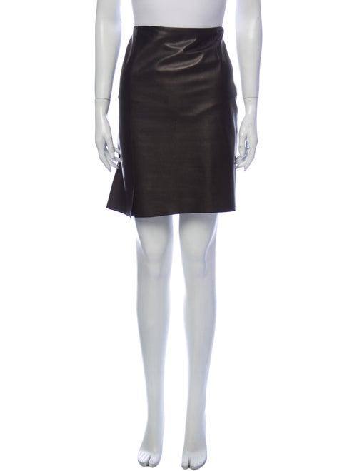 Akris Leather Mini Skirt Black