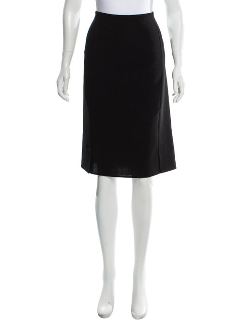 Akris Wool Knee-Length Skirt Black