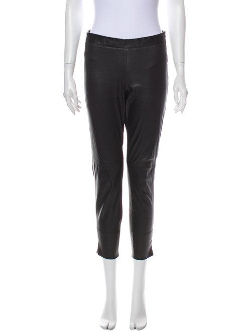 Akris Leather Skinny Leg Pants Black