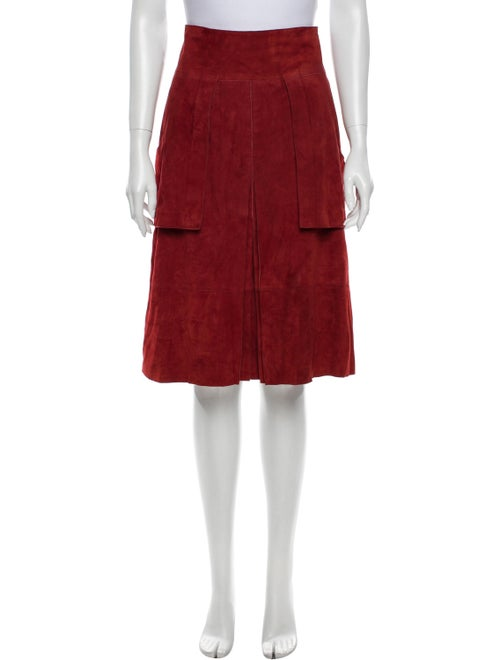 Akris Pleated Accents Knee-Length Skirt Red