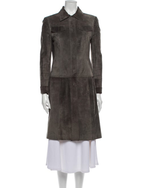 Akris Convertible Calf Leather Trench Coat Green