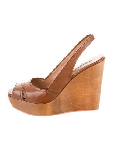 Alaïa Leather Platform Wedges None