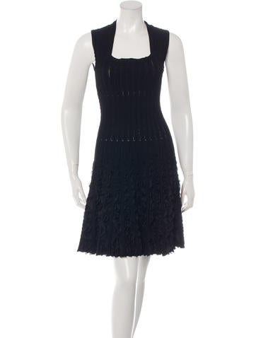 Alaïa Ruffle-Trimmed Fit and Flare Dress None