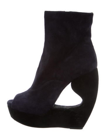 Alaïa Suede Wedge Ankle Boots None