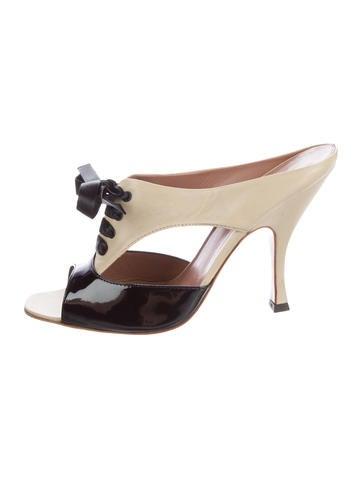 Alaïa Leather Slide Sandals