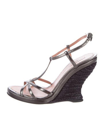 Alaïa Leather Wedge Sandals None