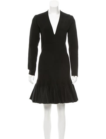 Alaïa Rib Knit Fit and Flare Dress None