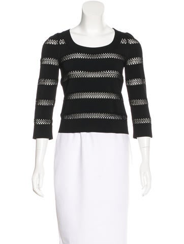 Alaïa Lace-Trimmed Three-Quarter Sleeve Top None