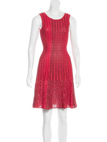 Alaïa Fit and Flare Textured Dress None